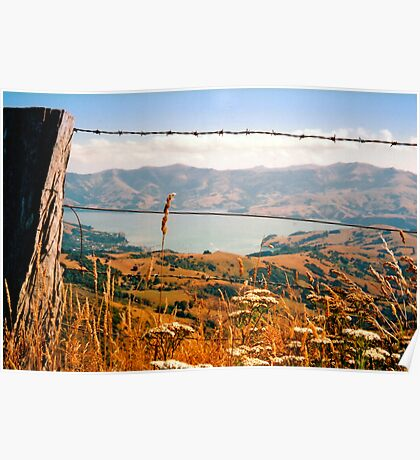 Looking down on Akaroa Poster