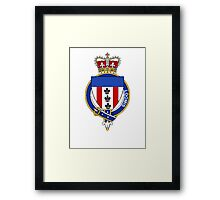Coat of arms (family crest) for last-name or surname Loomis or Lomas (England) . Heraldry banner for your name. Framed Print