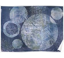 Blue Cosmos Monoprint Poster