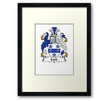 Coat of arms (family crest) for last-name or surname Lord . Heraldry banner for your name. Framed Print