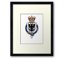 Coat of arms (family crest) for last-name or surname Lott (England) . Heraldry banner for your name. Framed Print