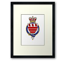 Coat of arms (family crest) for last-name or surname Love (England) . Heraldry banner for your name. Framed Print