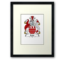 Coat of arms (family crest) for last-name or surname Love I . Heraldry banner for your name. Framed Print