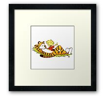 calvin and hobbes enjoy Framed Print