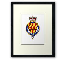 Coat of arms (family crest) for last-name or surname Lovell (England) . Heraldry banner for your name. Framed Print