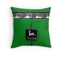 John Deere Front End of Tractor Logo Emblem Photograph Throw Pillow