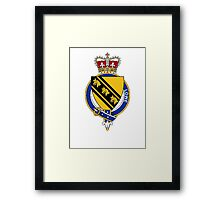 Coat of arms (family crest) for last-name or surname Lowe (England) . Heraldry banner for your name. Framed Print