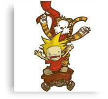 calvin and hobbes happy Canvas Print