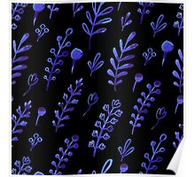 - Blue ink plants pattern 2 - Poster