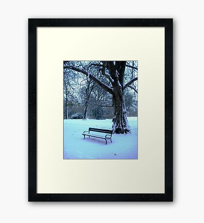Too cold to sit & enjoy the scenery today! Framed Print