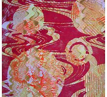Red Cosmos Monoprint by Heatherian