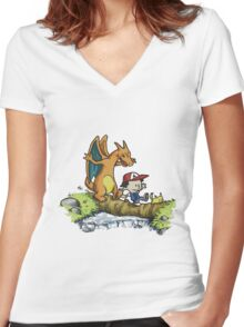 calvin and hobbes dragon Women's Fitted V-Neck T-Shirt