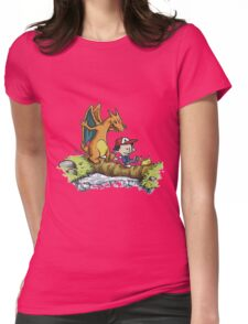 calvin and hobbes dragon Womens Fitted T-Shirt