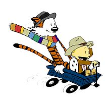 calvin and hobbes drive with blue box by markusbogie