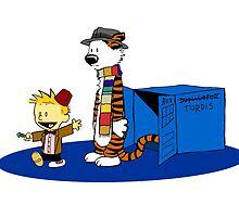calvin and hobbes with blue box by markusbogie