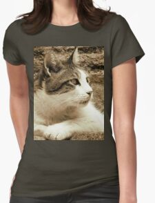 cat02 sepia Womens Fitted T-Shirt