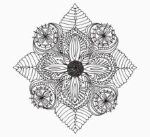 Flower mandala black and white T-Shirt