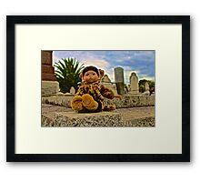 Graveyard Leopard Doll Framed Print