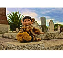 Graveyard Leopard Doll Photographic Print