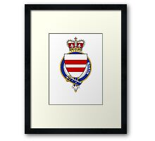 Coat of arms (family crest) for last-name or surname Martin (England) . Heraldry banner for your name. Framed Print