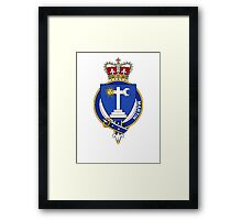 Coat of arms (family crest) for last-name or surname Martin (Ireland) . Heraldry banner for your name. Framed Print