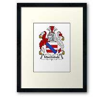 Coat of arms (family crest) for last-name or surname Martindale . Heraldry banner for your name. Framed Print