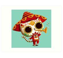 The Day of the Dead Cute Cat El Mariachi Art Print