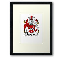 Coat of arms (family crest) for last-name or surname Marwood . Heraldry banner for your name. Framed Print
