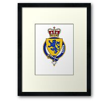 Coat of arms (family crest) for last-name or surname Mason (England) . Heraldry banner for your name. Framed Print