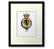 Coat of arms (family crest) for last-name or surname Matthews (England) . Heraldry banner for your name. Framed Print