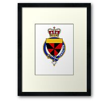Coat of arms (family crest) for last-name or surname Matthews (Scotland) . Heraldry banner for your name. Framed Print