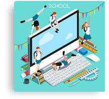 School Devices Set Desktop Personal Computer Canvas Print