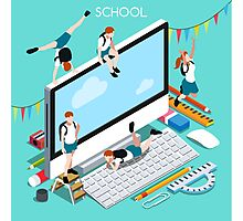 School Devices Set Desktop Personal Computer Photographic Print