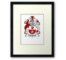Coat of arms (family crest) for last-name or surname Maycock . Heraldry banner for your name. Framed Print