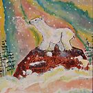 POLAR CUB WATCHING AURORA LIGHTS by eoconnor