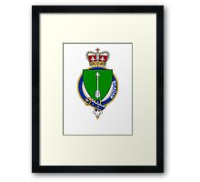 Coat of arms (family crest) for last-name or surname McAdam (ancient) Scotland . Heraldry banner for your name. Framed Print