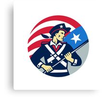 American Patriot Holding Brandish USA Flag Circle Retro Canvas Print