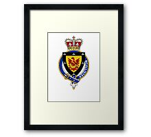 Coat of arms (family crest) for last-name or surname McAllister (Scotland) . Heraldry banner for your name. Framed Print