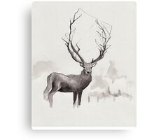 Art Illustration - Deer in the fog Canvas Print