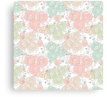 Floral seamless pattern with blooming roses Canvas Print