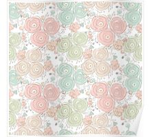 Floral seamless pattern with blooming roses Poster
