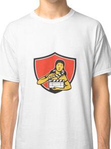 Asian Woman Movie Clapper Shield Retro Classic T-Shirt