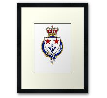 Coat of arms (family crest) for last-name or surname McCall (Scotland) . Heraldry banner for your name. Framed Print