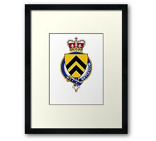 Coat of arms (family crest) for last-name or surname McClellan (Scotland) . Heraldry banner for your name. Framed Print