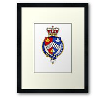 Coat of arms (family crest) for last-name or surname McClintock (Ireland) . Heraldry banner for your name. Framed Print