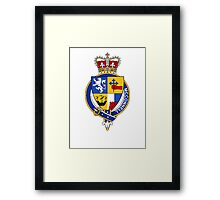 Coat of arms (family crest) for last-name or surname McConnell (Scotland) . Heraldry banner for your name. Framed Print