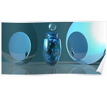 Aquamarine Fandango with Marbles Still Life Poster
