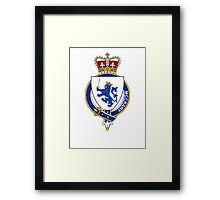 Coat of arms (family crest) for last-name or surname McCrary or McRery (Ireland) . Heraldry banner for your name. Framed Print