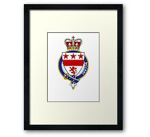 Coat of arms (family crest) for last-name or surname McCray or McCrae (Scotland) . Heraldry banner for your name. Framed Print