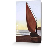 A Red Sail Sunset Greeting Card